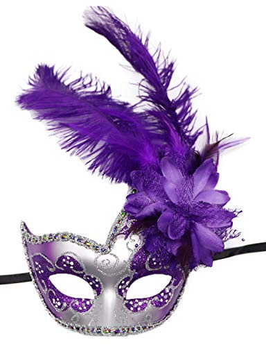 Women's Feather Masquerade Mask Venetian Halloween Mardi Gras Costumes Party Ball Prom Mask (ZA Silver Purple) -