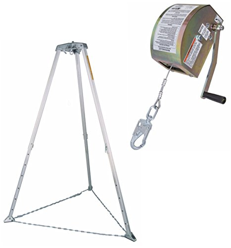 Rescue System Tripod - Miller Confined Space Rescue System BUNDLE with 8442-Z7/65FT Winch, 51/7FT Tripod, Winch Pulley, 8287H/YL Tripod Carry Bag and 8280H/YL Winch Carry Bag