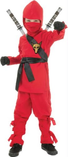 Underwraps Costumes Big Boy's Children's Red Ninja Costume, Small 4-6 Childrens Costume, red, Small