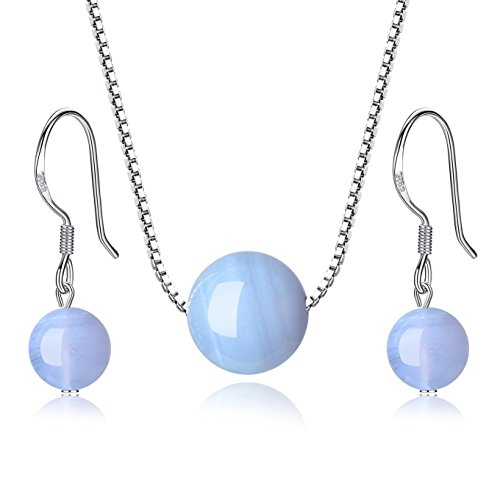 COAI Jewelry Set 925 Sterling Silver Blue Lace Agate Stone Earrings Necklace Set