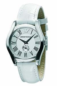 Emporio Armani AR0697 - Reloj analógico de cuarzo para mujer con correa de piel, color blanco