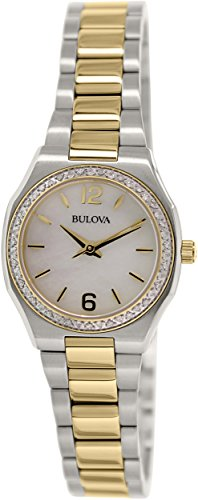 Bulova Women's 98R204 Diamond Gallery Analog Display Japanese Quartz Two-Tone Stainless Steel - Bracelet Mop Watch Two Tone