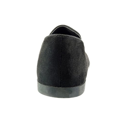 Angkorly - Scarpe da Moda Mocassini slip-on donna pon pon frange strass Tacco tacco piatto 1 CM - Nero