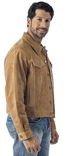 REED Men's Western Jean Style Suede Leather Shirt Jacket (2XL, Camel)