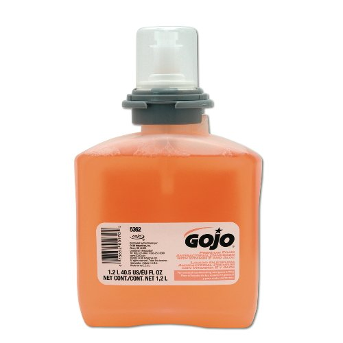 GOJO Industries 5362-02 GOJO 1200 ml Refill Clear Peach to Amber and Brown TFX Fruity Scented Premium Foam Antibacterial Hand Wash, Plastic, 1