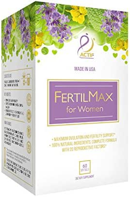 ACTIF Organic FertilMax - #1 Fertility Supplement and Ovulation Support - Non-GMO, Made in USA, 60 count