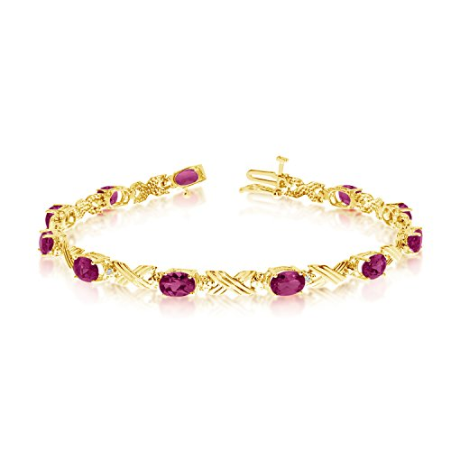 Jewels By Lux 10K Yellow Gold Oval Ruby and Diamond Bracelet