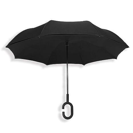 TOPHGDIY Paraguas Invertido Doble Capa Fuerte Automático Grande Impermeable Antiviento para el Coche Color Negro Regalos
