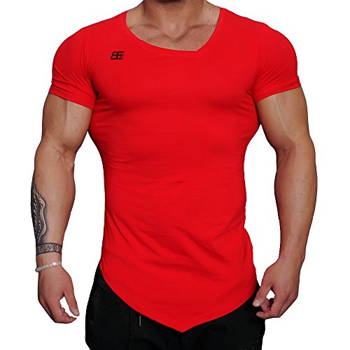 Men's Muscle Bodybuilding T Shirts Irregular Fitness Gym Workout Short Sleeve Tees (Red, US Medium/Tag XL(Chest:35