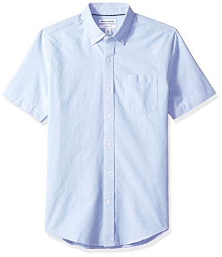 Amazon Essentials Men's Slim-Fit Short-Sleeve Pocket Oxford Shirt, Blue, ()
