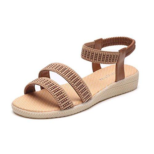 Transer Ladies Leisure Flat Sandals- Women Elasticity Bohemia Sandals Comfy Shoes Casual Brown