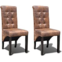 Festnight Deluxe Tufted Dining Parson Chairs, PU Leather, Brown