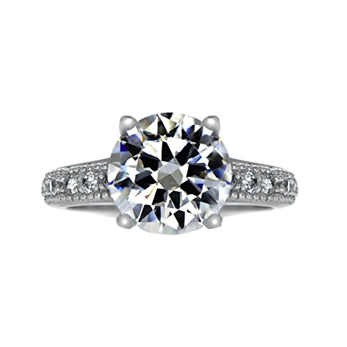 - Plus Size Diva 4 Carat Round Cut CZ Engagement Ring with Pave Band