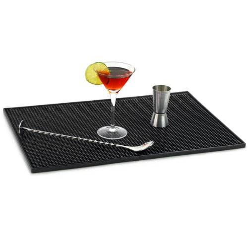 bar@drinkstuff Service Bar Mat 12 x 18inch Black Rubber Drip Mat, Rubber Bar Mats, Drip Mat