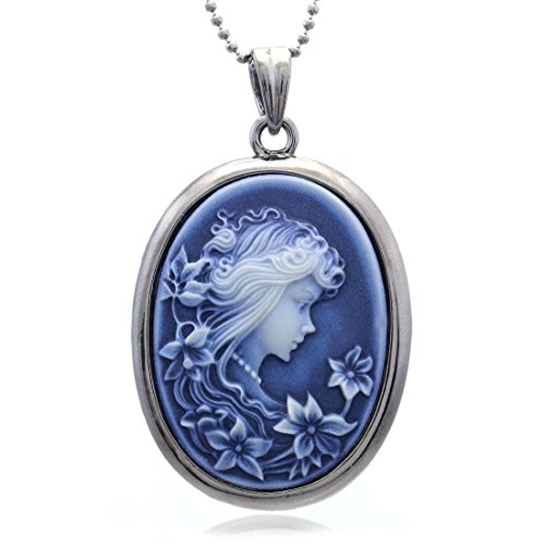 Soulbreezecollection Blue Cameo Pendant Necklace Charm Fashion Jewelry for -