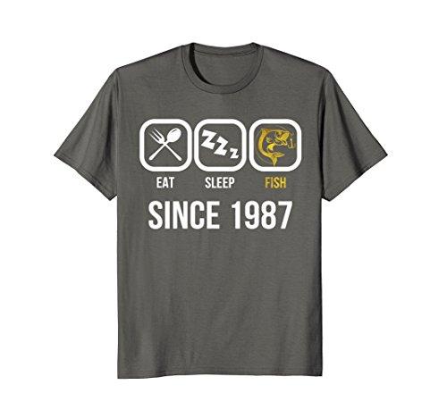 Mens Eat Sleep Fish Since 1987 T-Shirt 31st Birthday Gift Shirt 3XL (1987 Fish)