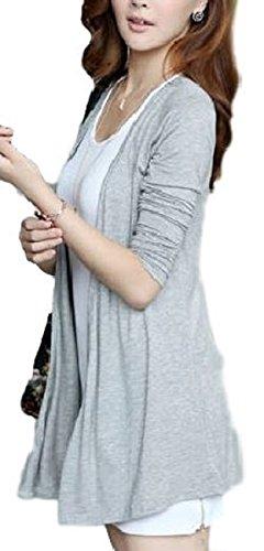 [ニブンノイチスタイル] 1/2style 長袖 薄手 人気 ノーカラー アウター トッパー カーディガン レディース