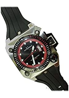 Paul Versan - Reloj caballero acero y caucho, color acero-negro-rojo
