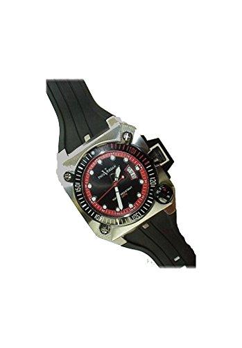 Paul Versan - Reloj caballero acero y caucho, color acero-negro-rojo: Amazon.es: Relojes