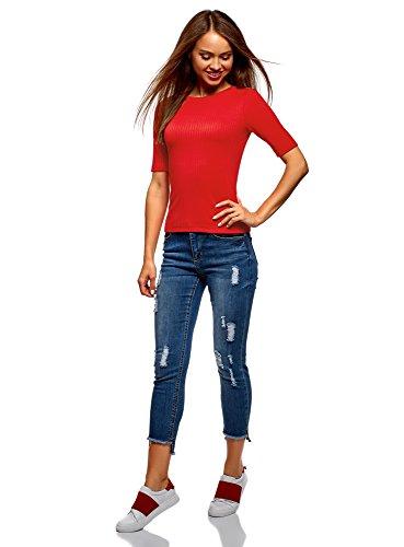 Redondo Jersey Ultra Oodji Mujer Texturizado Con Cuello 4500n Rojo qFYfYgw