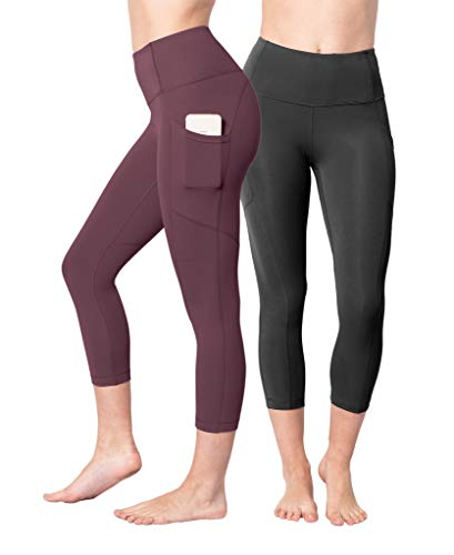 "Yogalicious 22"" High Waist Yoga Capris - Yoga Leggings - Yoga Capris for Women - Black and Hampton Port with Pocket 2 Pack - Small"
