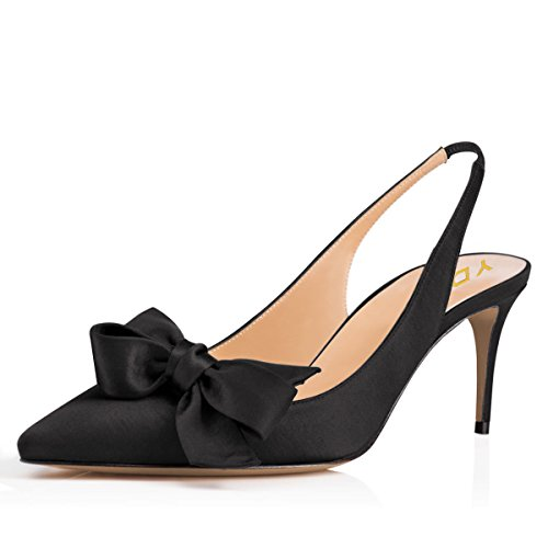 YDN Women Pointed Toe Slingback Satin Dress Pumps Stiletto Mid Heels Evening Prom Sandals with Bows Black 10