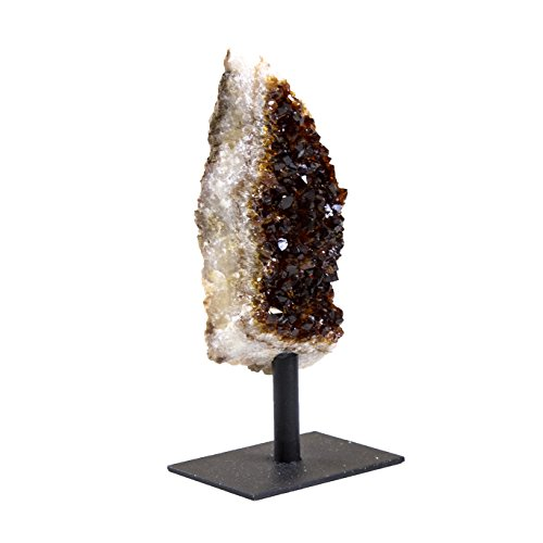 Rock Paradise Citrine Cluster Stone on Metal Stand - Healing Crystals and Stones - Home Décor Accents - Chakra Stones