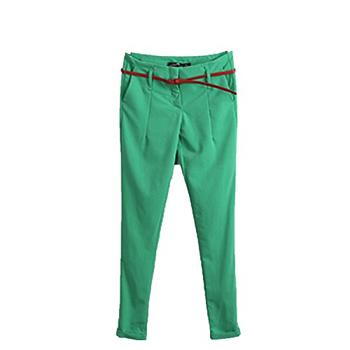 Small-shop Ladies Work Pants Candy Colors Women Slim Pants Mixed Cotton Work Pants Women,Green,M by Small-shop