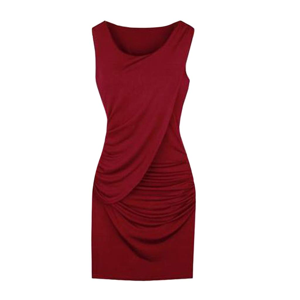 SHOBDW Elegant Dress S-5xl Plus Size Elegant Party Dress Clubsummer Fashion Sleeveless Solid Color Womens Dresses