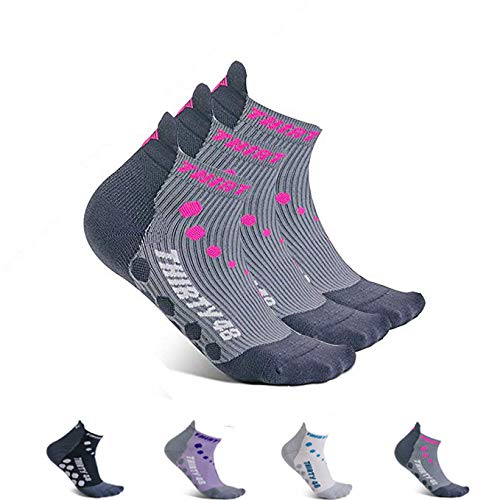 Thirty 48 Compression Low-Cut Running Socks for Men and Women (Small - Women 5-6.5 // Men 6-7.5, [3 Pairs] Pink/Gray) by Thirty 48 (Image #7)