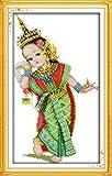 Joy Sunday Cross Stitch kits, Thailand dance(1),11CT Printed, 28cm×47 or 10.92''×18.33''