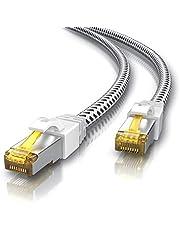 CSL – 3 m CAT 7 Nätverkskabel Gigabit Ethernet Lan-Kabel – 10 000 Mbit S – Patchkabel – Cat.7 Råkabel S FTP PIMF Skärmning med RJ 45-Kontakt – Switch Router Modem Access Point, Vit