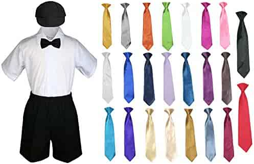 3aac44c4a Baby Kid Toddler Boy Party Suit Black Shorts Shirt Hat Bow tie Necktie Set  Sm-