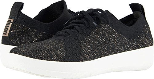 FitFlop Women's F-Sporty Uberknit Sneakers Black/Metallic Bronze 7.5 M US by FitFlop