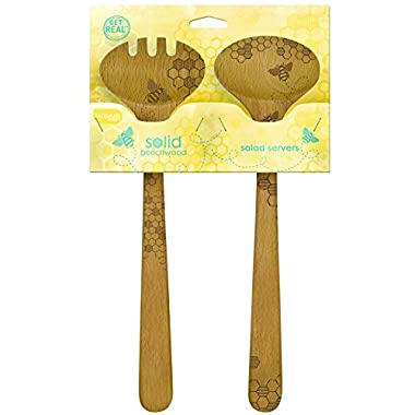Talisman Designs  Beechwood Salad Fork and Spoon Serving Set, Laser Etched with Honey Bee Art, 12  Long