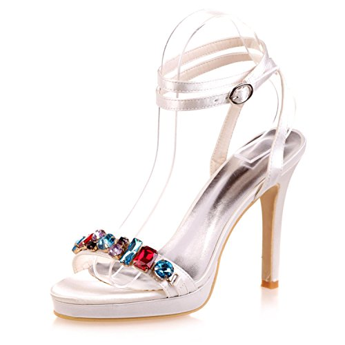 Peep White amp; 5915 Crystal Party Mujer Para 33a Platform yc Night Boda L Red Blue Toe Zapatos De wqRPnHT