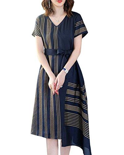 ファッション郵便局両方SANKU レディース ドレス vネック ストライプ カジュアル 半袖 ロング丈 ワンピース ナチュラル フォーマル きれいめ 春夏 aライン おしゃれ 可愛い 学生 森ガール カジュアル チュニック ゆったり