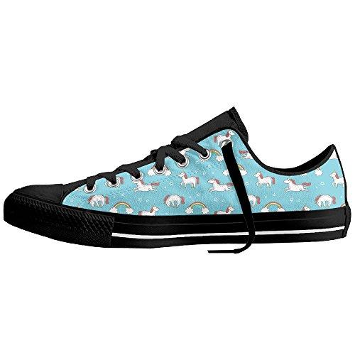Yo Ou Unicorn Pattern Men Women Classic Non-slip Rubber Out-sole Lace-up Low-Cut Canvas Shoes Sneakers Plimsoll