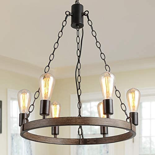 LALUZ Rustic Farmhouse Pendant Light Chandelier