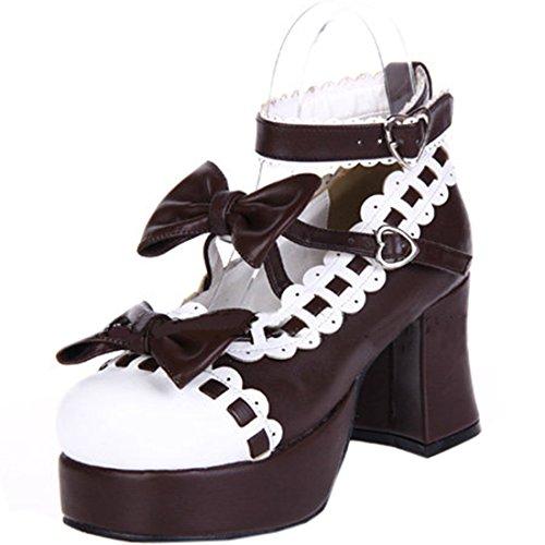 Partiss Damen Japanische Round Toe PU Pumps Lolita Schuhen mit hohem Absatz 5