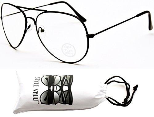A122-vp Aviator Pilot Clear Lens Eyeglasses Sunglasses (B1156F Black-Clear, - Style Eyeglasses Aviator