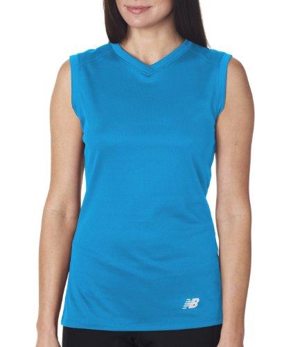 New Balance Ladies Athletic Workout v-Neck t-Shirt. (Sapphire) (Large)
