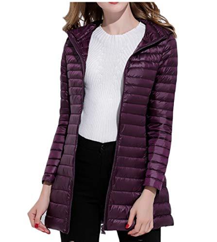Puffer Women's Winter Warm Quilted Down Zipper Jackets Purple Hooded EKU gZ6qXx