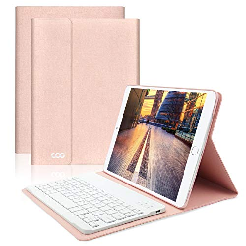 iPad Keyboard Case 9.7 for New iPad 2018 (6th Gen) - iPad Pro 2017 (5th Gen) - iPad Air 2/1 - COO Detachable Wireless Bluetooth Keyboard - Magnetic Auto Sleep/Wake (Champagne with White Keyboard) (Best Ipad Air Keyboard Case)