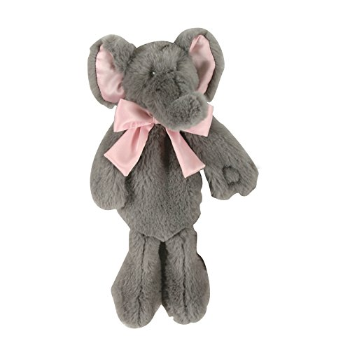 Stephan Baby Plush Elephant Paci-Holder, Gray/Pink, 11