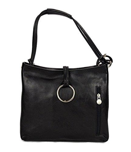 Leather ladies handbag black shoulder bag luxury bag women handbag made in Italy women handbag