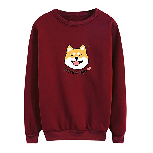 Shiba Inu Henley - Morecome Women Winter Shiba Inu Printing Round Neck Long Sleeve Loose Casual Blouse Sweatshirt Cute Top Red
