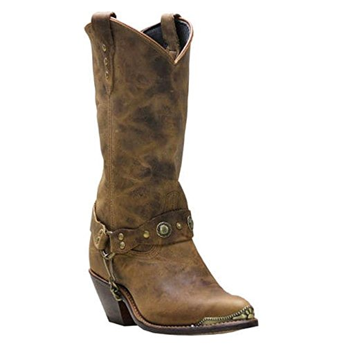 Abilene Women's Distressed Studded Harness Cowgirl Boot Round Toe Brown 7.5 M (Studded Harness Cowgirl Boots)