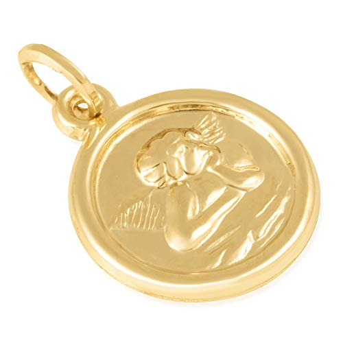 14KT Yellow Gold Round Disc Cherubim Religious Pendant/Charm for Women, 16mm x 16mm x 2mm - Immaculate and Trendy
