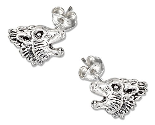 Sterling Silver Howling Wolf Head Earrings on Stainless Steel Posts and Nuts (Head Sterling Silver Wolf)